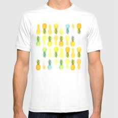 Pineapple Glow MEDIUM White Mens Fitted Tee