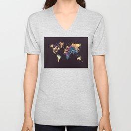 world map 79 yellow black Unisex V-Neck
