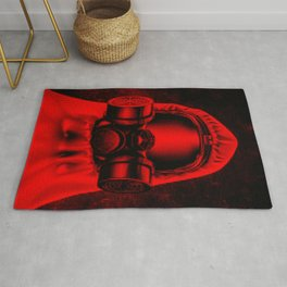 Toxic environment RED / Halftone hazmat dude Rug