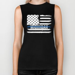 MI Michigan State Police Gift for Policeman, Cop or State Trooper Thin Blue Line Biker Tank