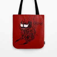 carnage Tote Bags featuring Carnage Whale  by CoolBreezDesigns
