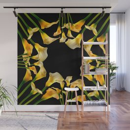 Golden Calla Lilies Black Garden Art Wall Mural