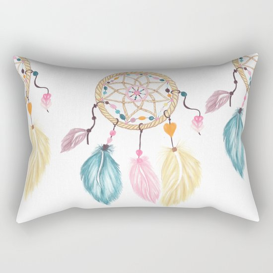 Bright watercolor boho dreamcatcher feathers Rectangular Pillow