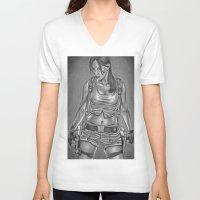 lara croft V-neck T-shirts featuring Ms. Croft by Bungle