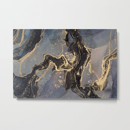 Entangled Gold + Black Paths Abstract Painting Metal Print