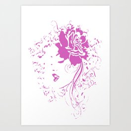 Hiding Girl Pink Vintage Art Print