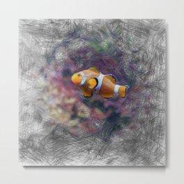Artistic Animal Clown Fish Metal Print