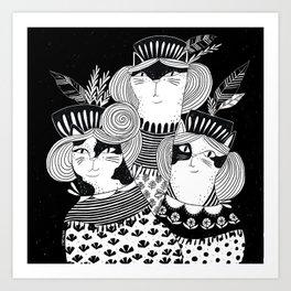 Cat Walk Trio Art Print