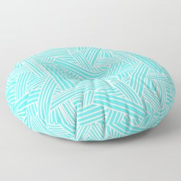 Sketchy Abstract (White & Turquoise Pattern) Floor Pillow