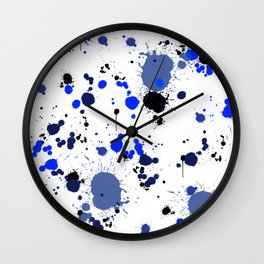 Blue Splatters Wall Clock