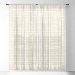 coconut cream thread random cross hatch lines checker pattern Sheer Curtain