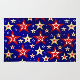 christmas pattern red star, gold stars,blue shiny background Rug