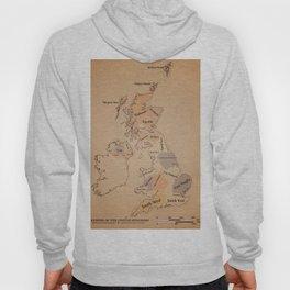 Regions of the United Kingdom vintage map Hoody