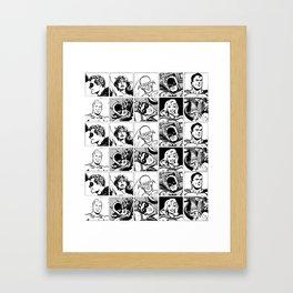 Pop art heroes . Black and white Framed Art Print