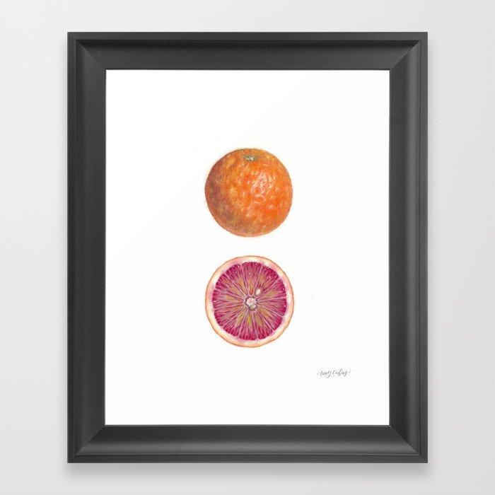 Blood Orange with Cut Half Framed Art Print