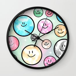 Spacemen illustrated mixed media art. Cute moons with smiley faces. Wall Clock