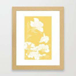japanese flowers. Yellow Framed Art Print