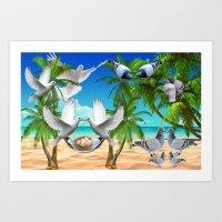 Tropical Dove Island Art Print