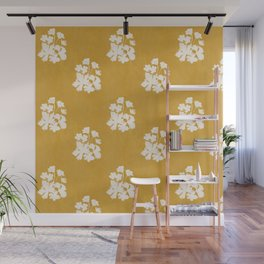 Wild Geraniums in Yellow Wall Mural