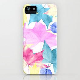 Pastel colors leaves. iPhone Case