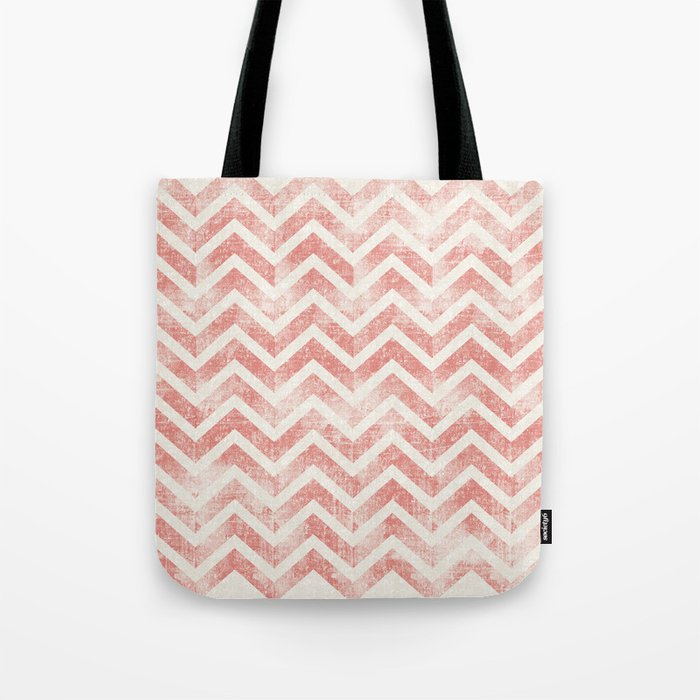 Maritime Navy Chevron Herringbone ZigZag in White Red Tote Bag