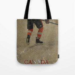 Taking to the Ice - Ice Hockey Postage Stamp Art Tote Bag