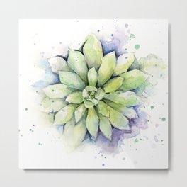 Watercolor Succulent Metal Print