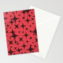 Shimmering Black Stars in Red Background Stationery Cards