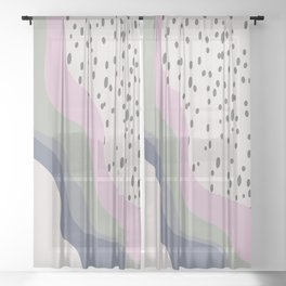 Abstract Falling Color Wave with Speckles Sheer Curtain