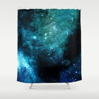 hydra Shower Curtains featuring β Canum Venaticorum by Nireth