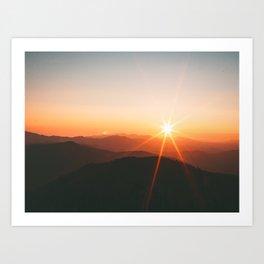 Yellow Orange Mountain Parallax Sunrise Landscape Art Print