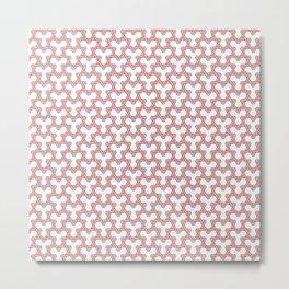 Salmon Pink Triangles on White Metal Print