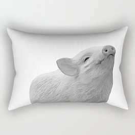 baby piglet b&w Rectangular Pillow