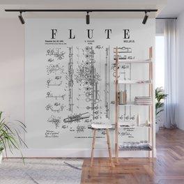 Flute Vintage Patent Flutist Flautist Drawing Print Wall Mural