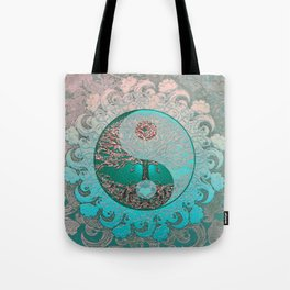Pretty Chic Teal Tree of Life with Yin Yang and Heart Tote Bag