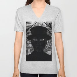 Untitled - charcoal drawing - spooky, ghoul, monster, undead, vampire, halloween, graveyard Unisex V-Neck