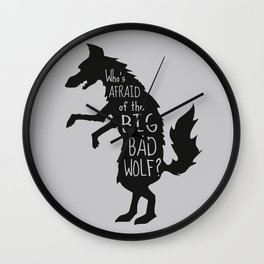 Who's Afraid of the Big Bad Wolf - Three Little Pigs Art Inspired Print Wall Clock