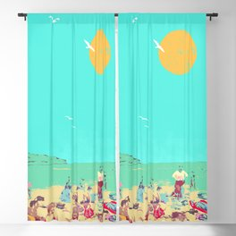 RETRO BEACH Blackout Curtain