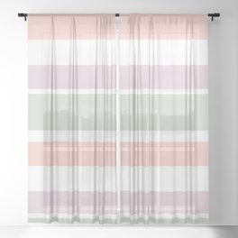 Colorful pastel stripes Sheer Curtain