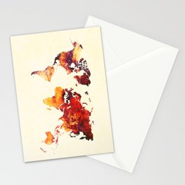 world map 89 art red Stationery Cards