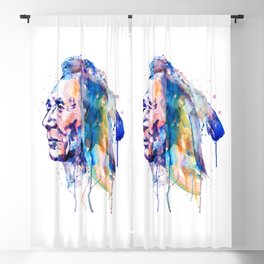 Sioux Warrior Watercolor Blackout Curtain