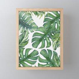 Monstera Leaves Framed Mini Art Print