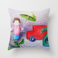 Crayon Love Toys I've Stepped On Throw Pillow