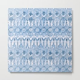 Tribal Owl Feathers in Delft Blue Metal Print