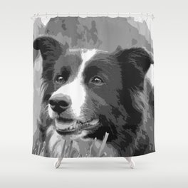 Portrait Of A Border Collie Shower Curtain