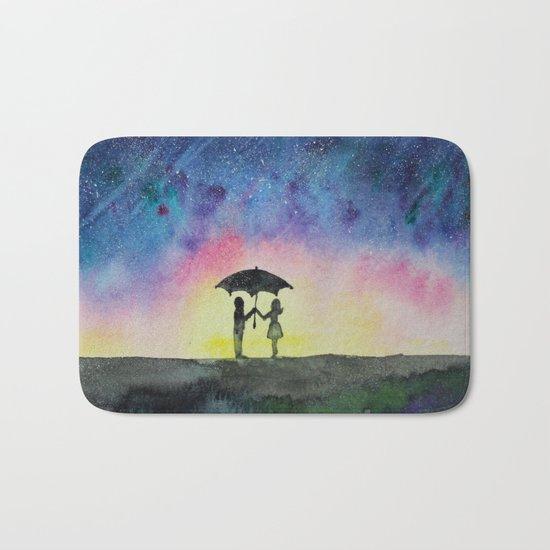 Star rain    watercolor Bath Mat
