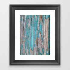 Rustic turquoise weathered wood shabby style Framed Art Print