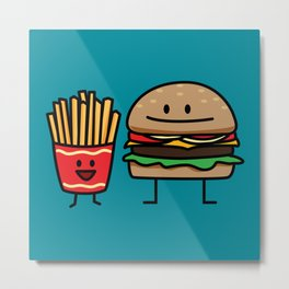 Happy Cheeseburger and French Fries Metal Print