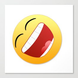 Happy state of mind emoticon laughing with mouth wide open Canvas Print