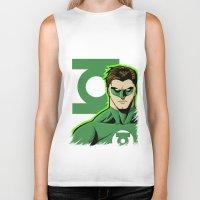 green lantern Biker Tanks featuring Green Lantern by J. J.